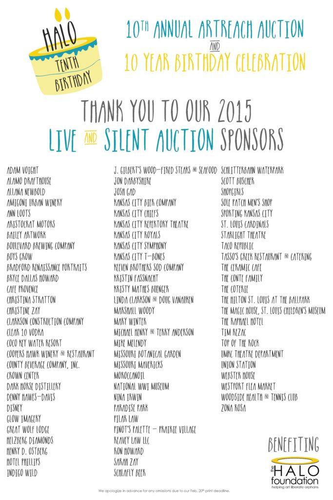 Art Reach Calendar : Silent auction donors halo